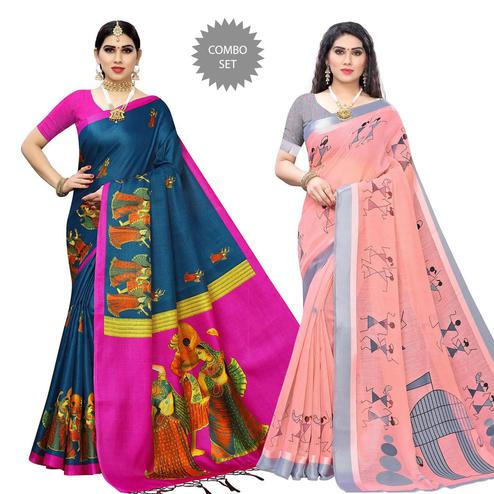 Charming Rama Blue - Peach Colored Printed Cotton Silk-Linen Saree - Pack of 2