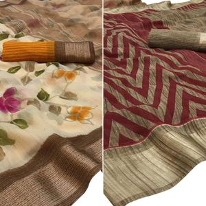 Jazzy Brown-Red Colored Printed Lycra Silk-Linen Saree - Pack of 2