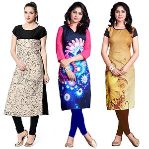 Beautiful Casual Wear Digital Printed American Crape Kurtis - Pack of 3