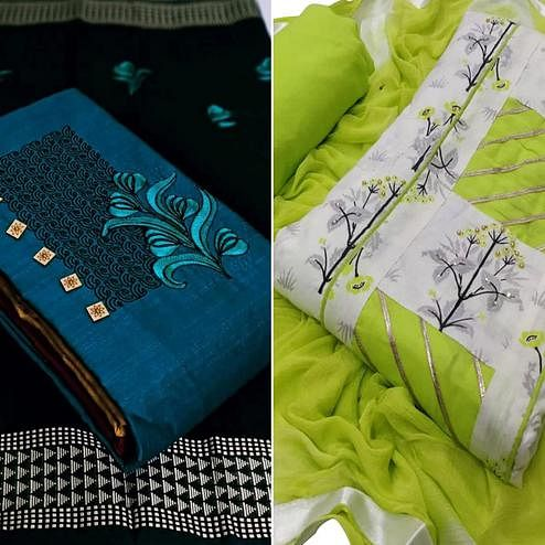 Exclusive Embroidered Cotton Dress Material - Pack of 2