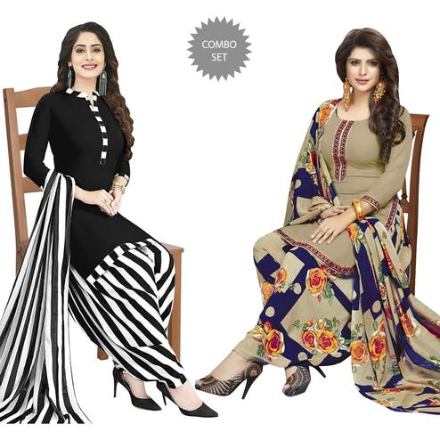 Engrossing Casual Wear Printed Dress Material - Pack of 2