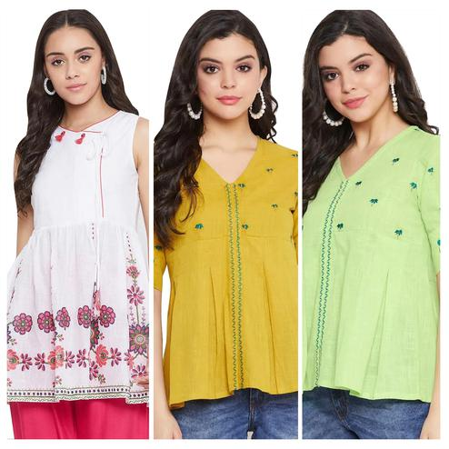 Blissful Casual Wear Printed And Embroidered Cotton Top - Pack of 3