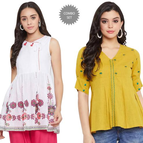 Ideal Casual Wear Printed And Embroidered Cotton Top - Pack of 2
