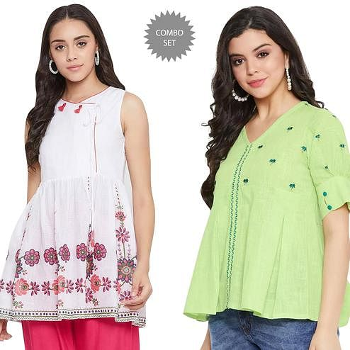 Imposing Casual Wear Printed And Embroidered Cotton Top - Pack of 2