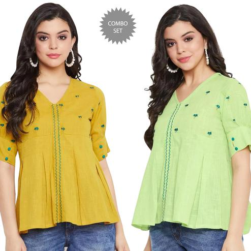 Lovely Casual Wear Embroidered Cotton Top - Pack of 2