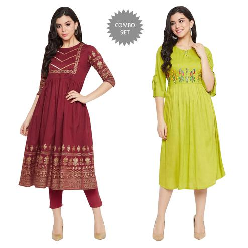 Winered - Women Maroon Green Colored Cotton Rayon Kurti - Pack Of 2