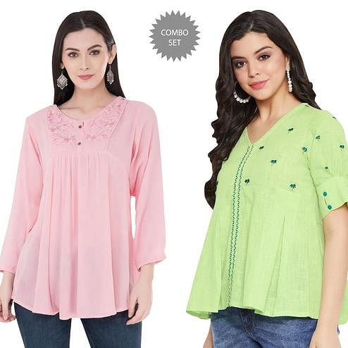Arresting Casual Wear Printed And Embroidered Top - Pack of 2