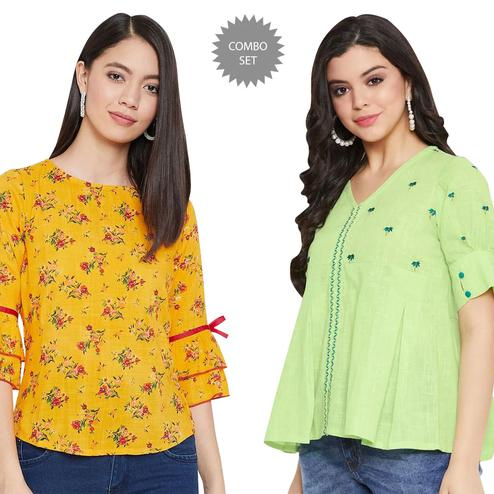 Desirable Casual Wear Printed And Embroidered Top - Pack of 2