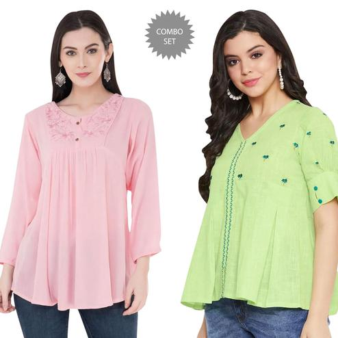 Exotic Casual Wear Printed And Embroidered Top - Pack of 2
