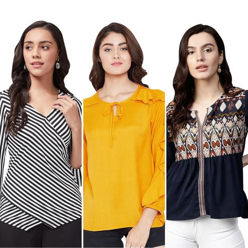 Sophisticated Casual Wear Printed Top - Pack of 3