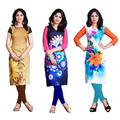 Trendy Casual Wear Digital Printed American Crape Kurtis - Pack of 2
