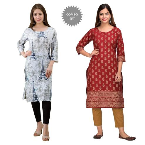 Unique Casual Wear Printed Kurta Pack Of 2