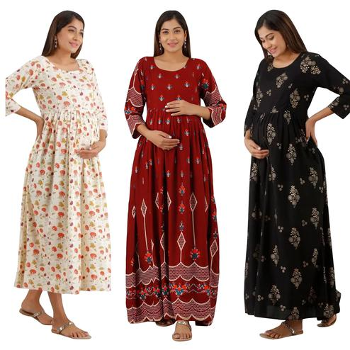 Preferable Maternity Kurta With Zip Pack Of 3