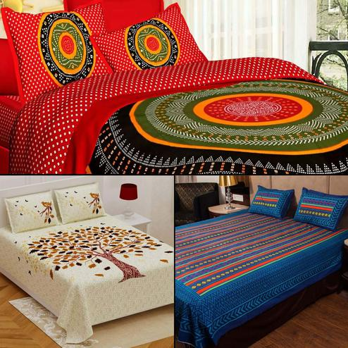 Classy Printed Double Bed Sheets With 2 Pillow Covers - Pack of 3