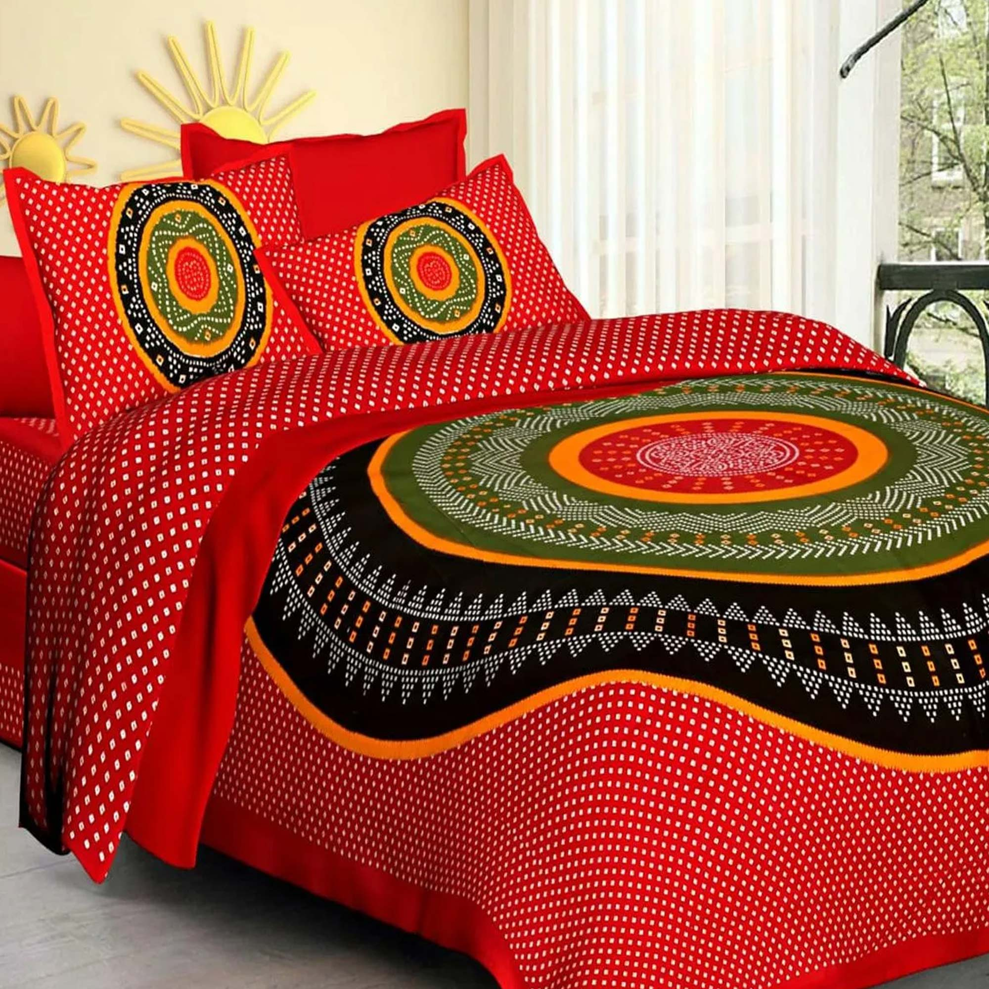 Prominent Printed Double Bed Sheets With 2 Pillow Covers - Pack of 2