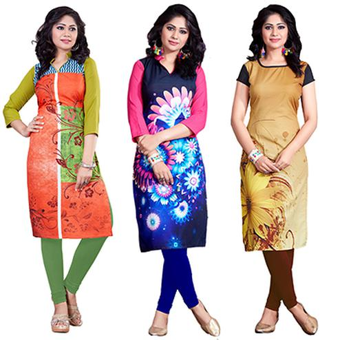 Graceful Casual Wear Digital Printed American Crape Kurtis - Pack of 3