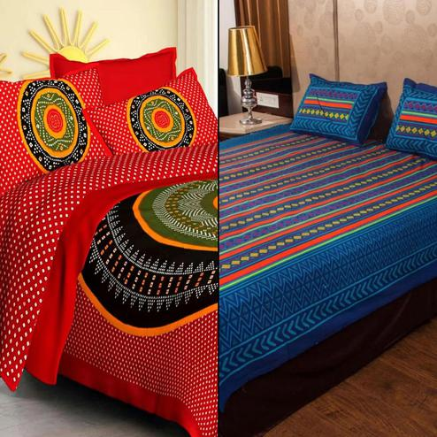Exclusive Printed Double Bed Sheets With 2 Pillow Covers - Pack of 2