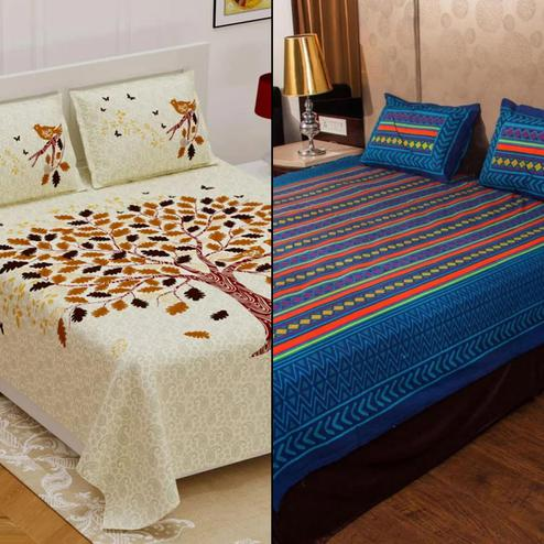 Capricious Printed Double Bed Sheets With 2 Pillow Covers - Pack of 2