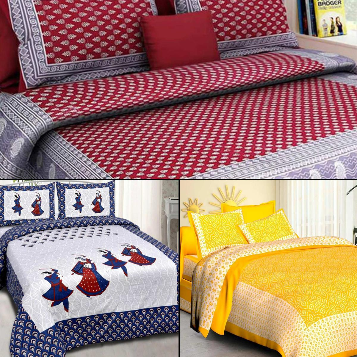Entrancing Printed Double Bed Sheets With 2 Pillow Covers - Pack of 3