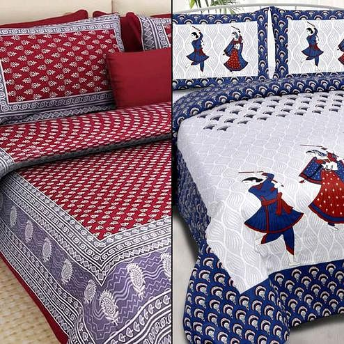 Groovy Printed Double Bed Sheets With 2 Pillow Covers - Pack of 2