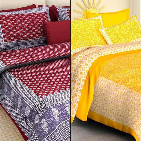 Adorning Printed Double Bed Sheets With 2 Pillow Covers - Pack of 2