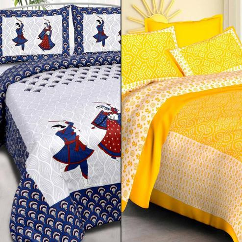Adorable Printed Double Bed Sheets With 2 Pillow Covers - Pack of 2
