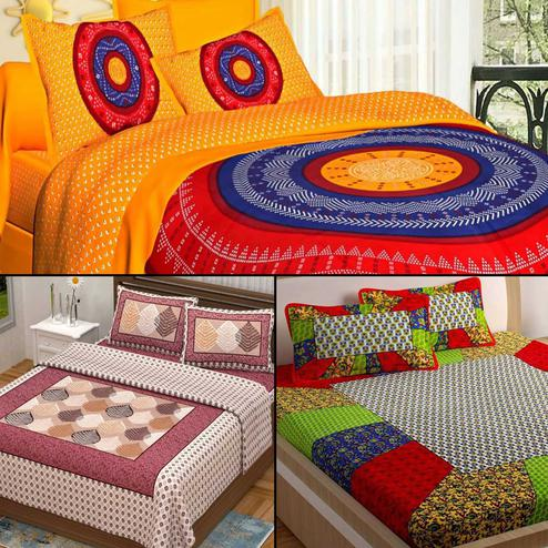 Glorious Printed Double Bed Sheets With 2 Pillow Covers - Pack of 3
