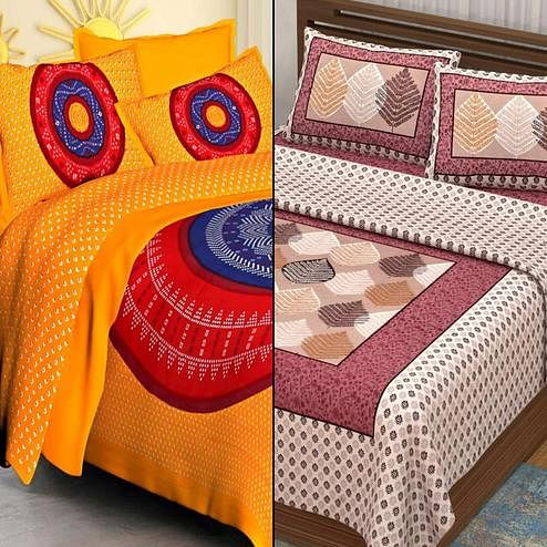 Attractive Printed Double Bed Sheets With 2 Pillow Covers - Pack of 2