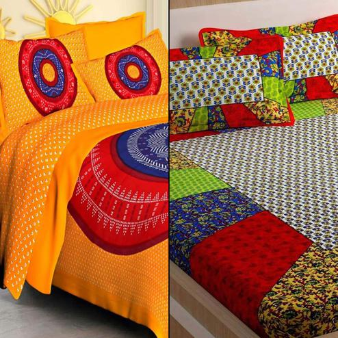 Beautiful Printed Double Bed Sheets With 2 Pillow Covers - Pack of 2