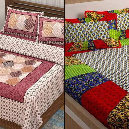 Graceful Printed Double Bed Sheets With 2 Pillow Covers - Pack of 2