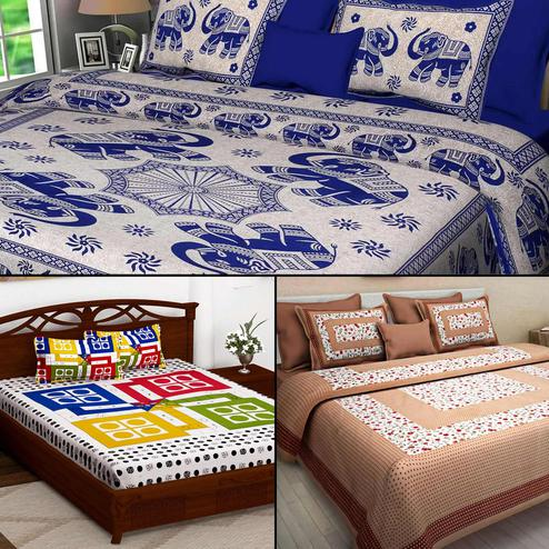 Blooming Printed Double Bed Sheets With 2 Pillow Covers - Pack of 3