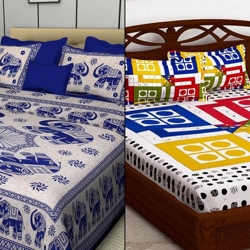 Charming Printed Double Bed Sheets With 2 Pillow Covers - Pack of 2