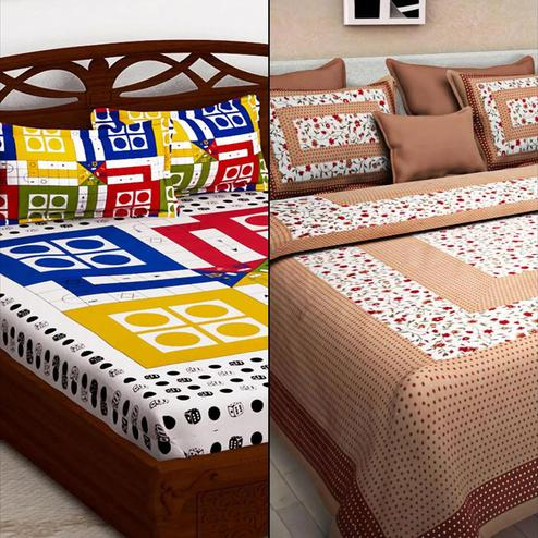 Ravishing Printed Double Bed Sheets With 2 Pillow Covers - Pack of 2