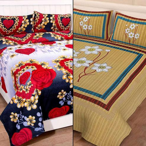 Captivating Printed Double Bed Sheets With 2 Pillow Covers - Pack of 2