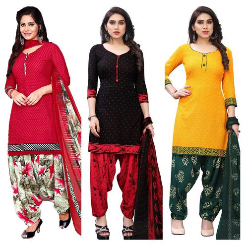 Lovely Casual Wear Printed Dress Material Pack Of 3