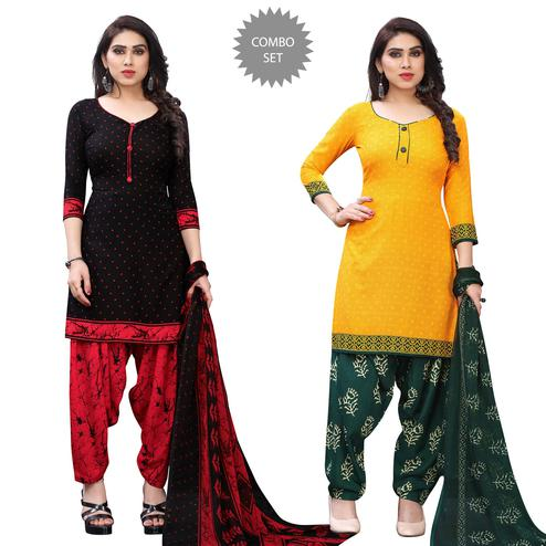 Attractive Casual Wear Printed Dress Material Pack Of 2