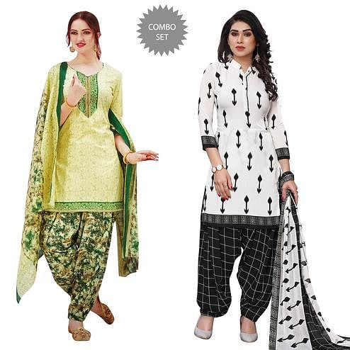 Charming Casual Wear Printed Dress Material Pack Of 2