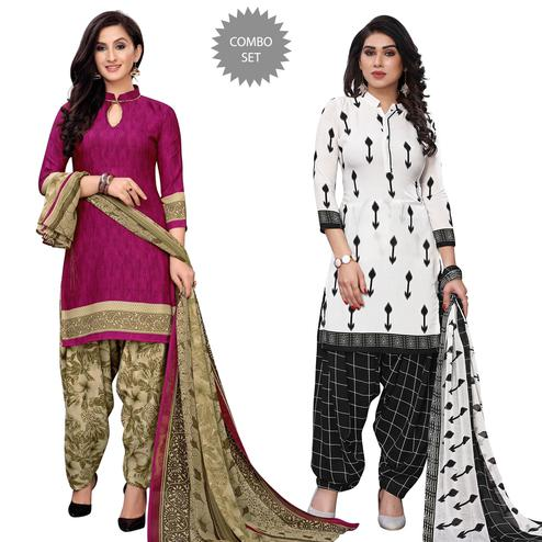 Jazzy Casual Wear Printed Dress Material Pack Of 2