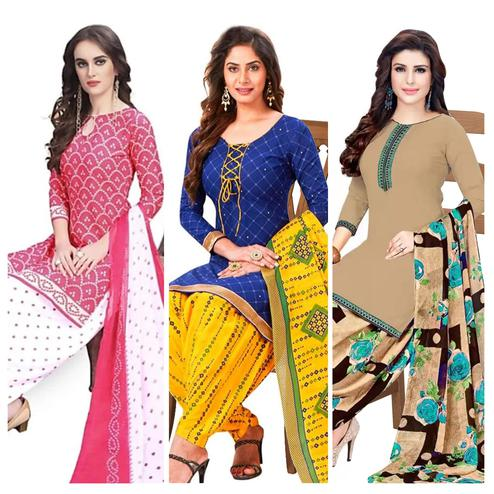 Ravishing Casual Wear Printed Dress Material Pack Of 3