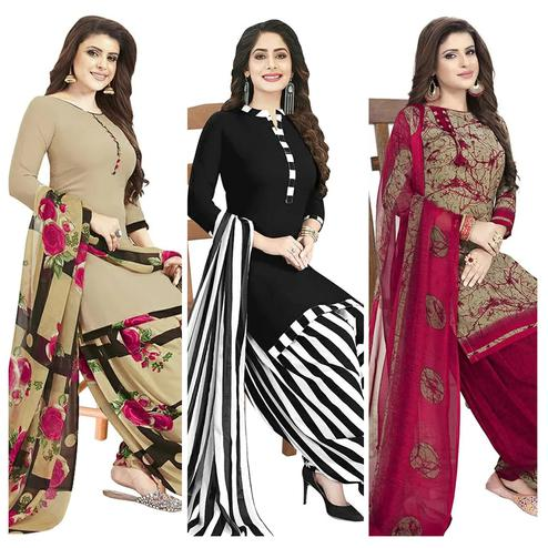 Ideal Casual Printed Crepe Patiala Dress Material Pack of 3