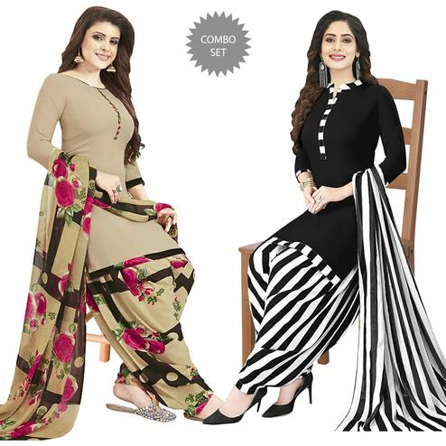 Intricate Casual Printed Crepe Patiala Dress Material Pack of 2