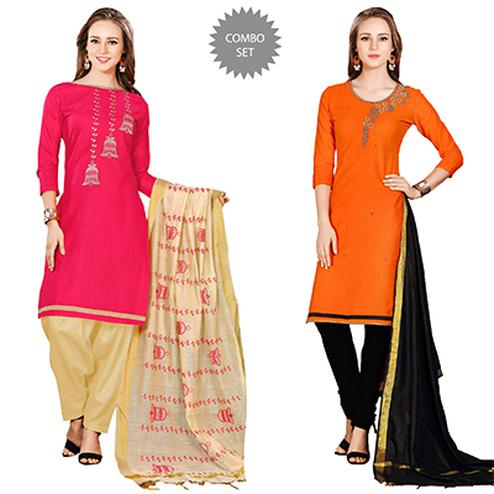Marvellous Embroidered Chanderi Cotton Dress Materials - Pack of 2