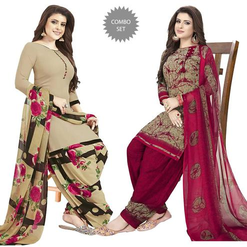 Classy Casual Printed Crepe Patiala Dress Material Pack of 2