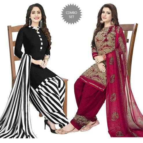 Prominent Casual Printed Crepe Patiala Dress Material Pack of 2