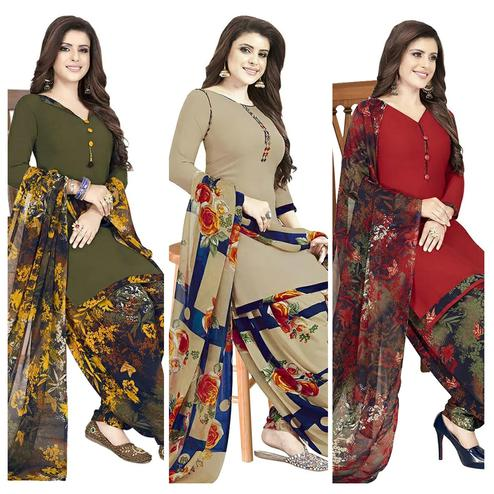 Jazzy Casual Printed Crepe Patiala Dress Material Pack of 3