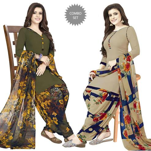Innovative Casual Printed Crepe Patiala Dress Material Pack of 2