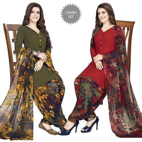 Amazing Casual Printed Crepe Patiala Dress Material Pack of 2