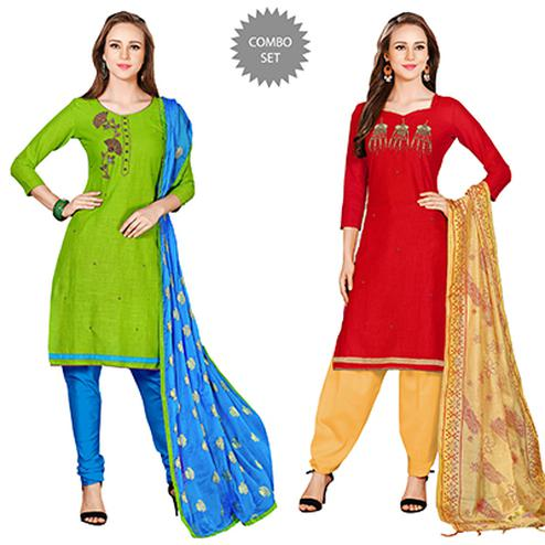Beautiful Embroidered Chanderi Cotton Dress Materials - Pack of 2