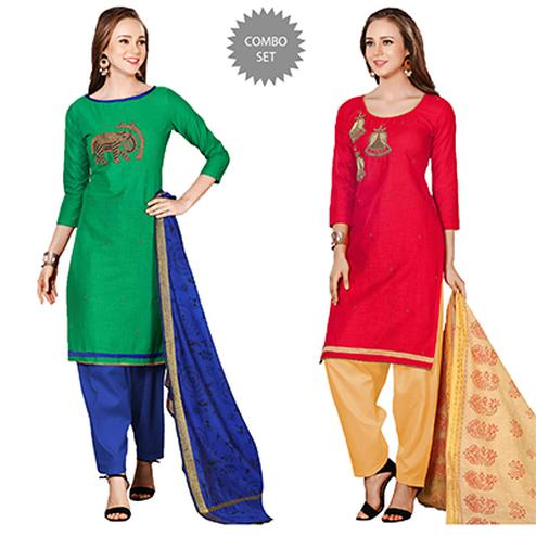 Charming Embroidered Chanderi Cotton Dress Materials - Pack of 2