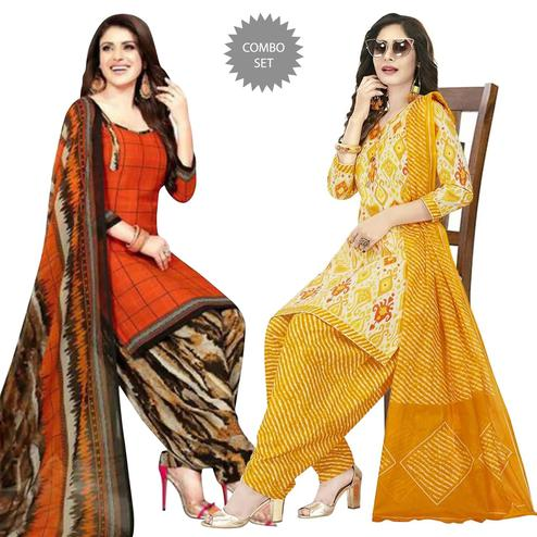 Majesty Casual Wear Printed Crepe Patiala Dress Material Pack of 2